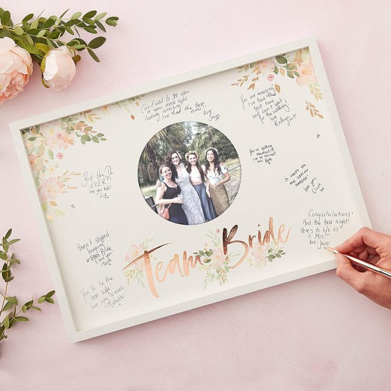 <p>The amazing photo frame is 32 cm high and 44 cm wide it has a space in the centre for a cool photo of your team on the hen weekend and then space all around to sign it and write your own special message for your bride to be.</p>