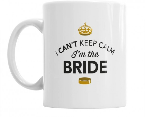 <p>This 11 fluid ounce, white ceramic Bride Tea or Coffee mug, printed in full colour is, I cant Keep Calm i'm the Bride, the mug is dishwasher and microwave proof and its the perfect way to show your bride to be that you understand and everything will be okay.</p>
